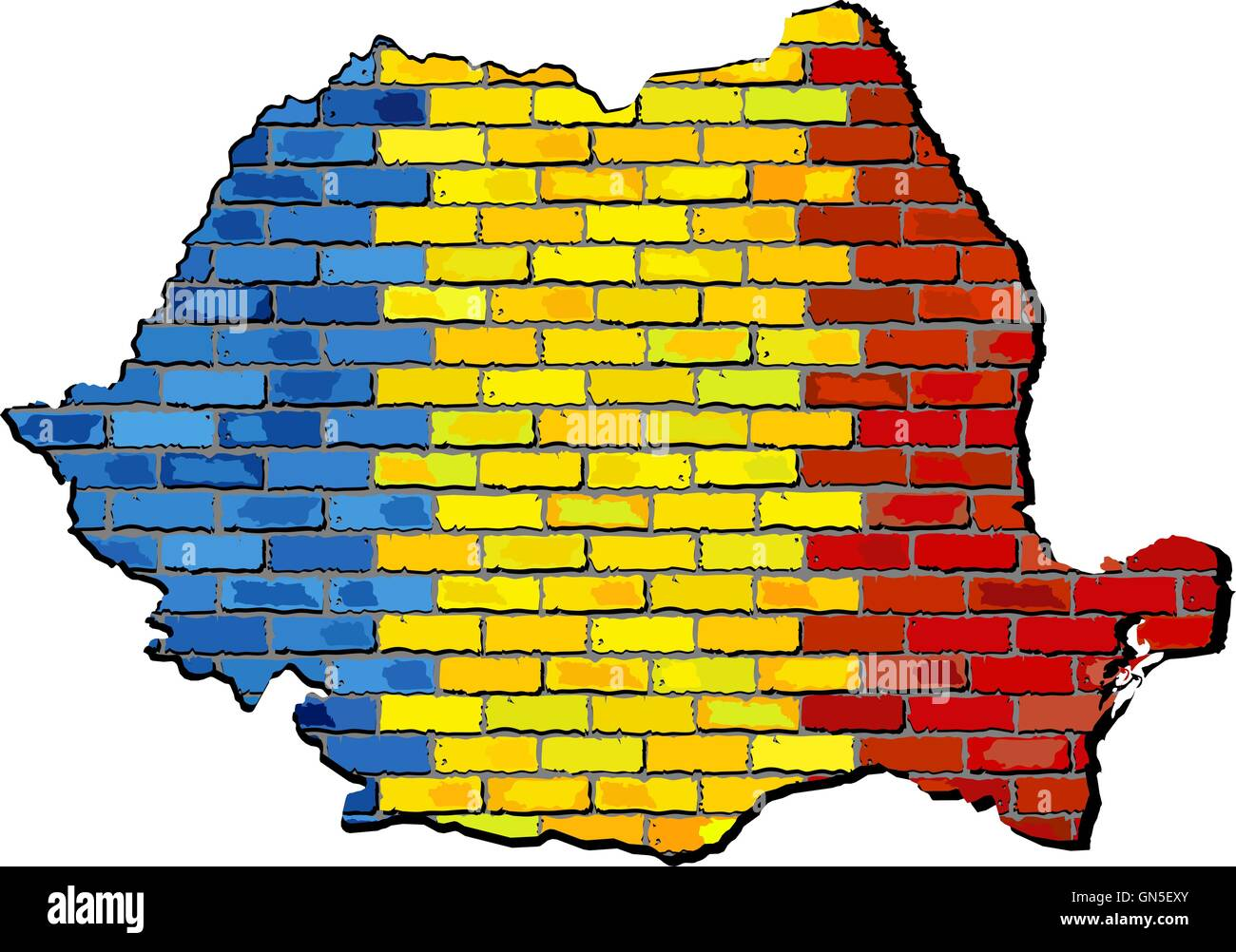 Romania map on a brick wall Stock Vector Art & Illustration, Vector ...