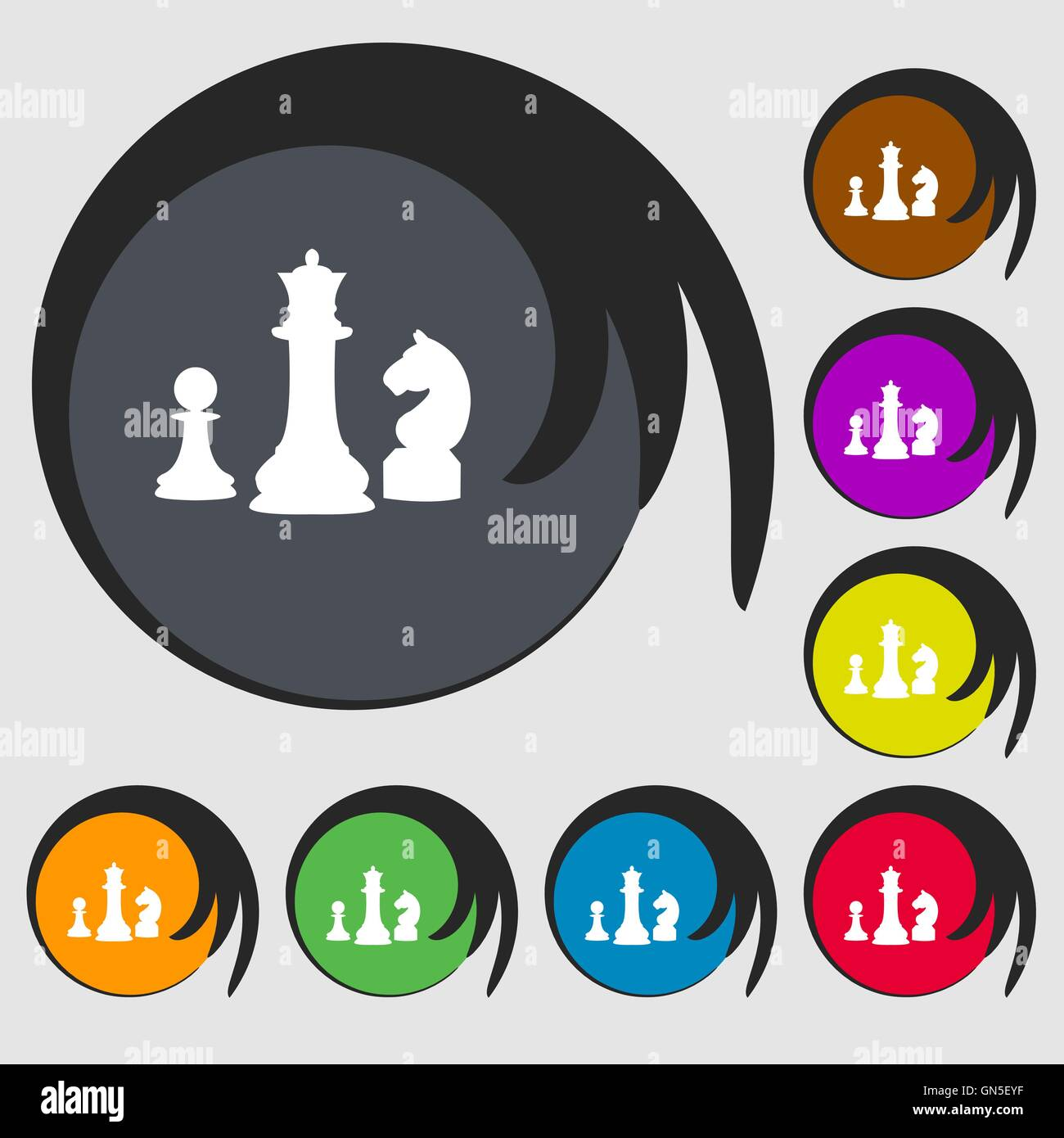 Chess game icon symbols on eight colored buttons vector stock chess game icon symbols on eight colored buttons vector biocorpaavc Gallery