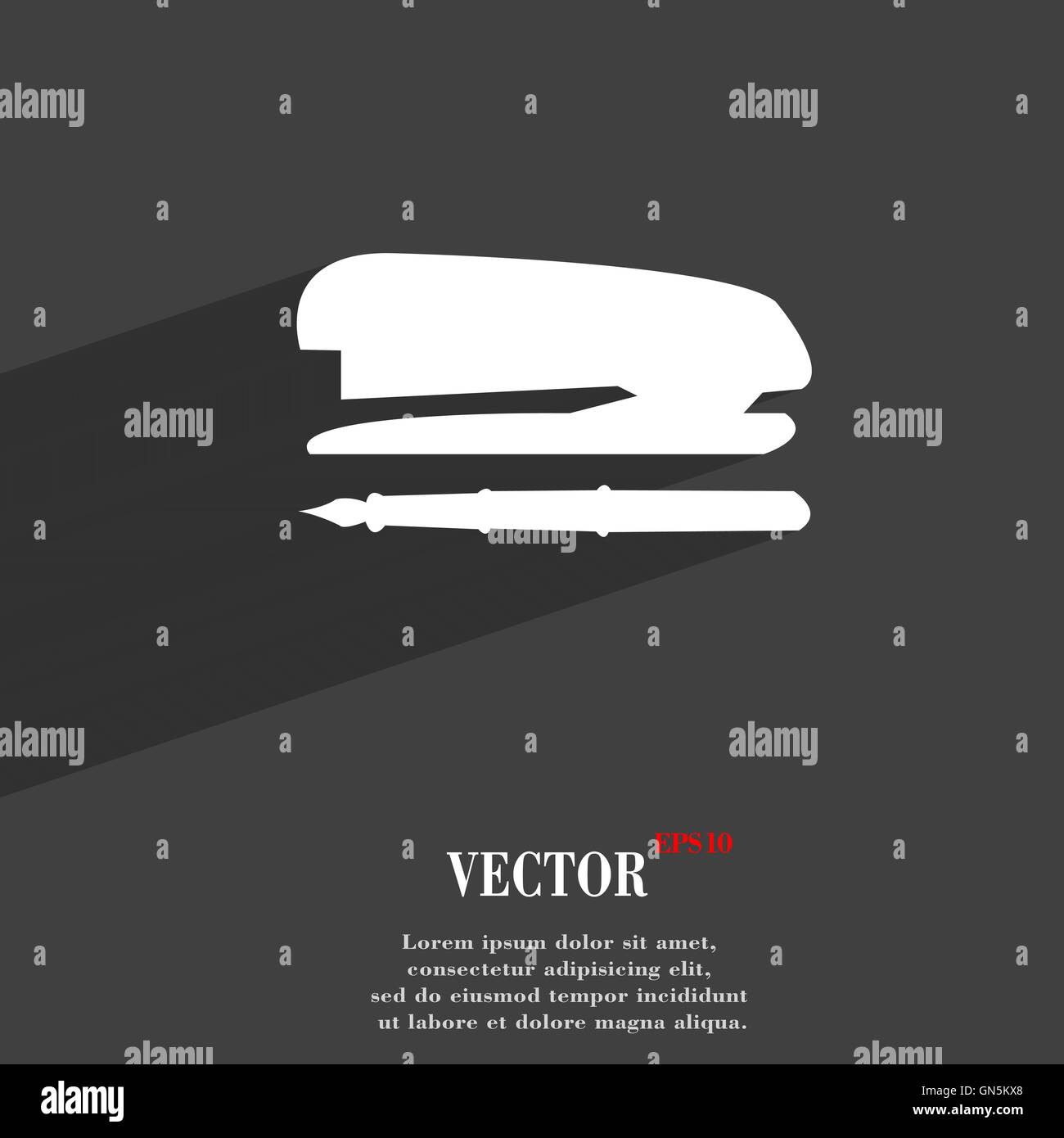 Stapler and pen symbol flat modern web design with long shadow and stapler and pen symbol flat modern web design with long shadow and space for your text vector biocorpaavc Choice Image