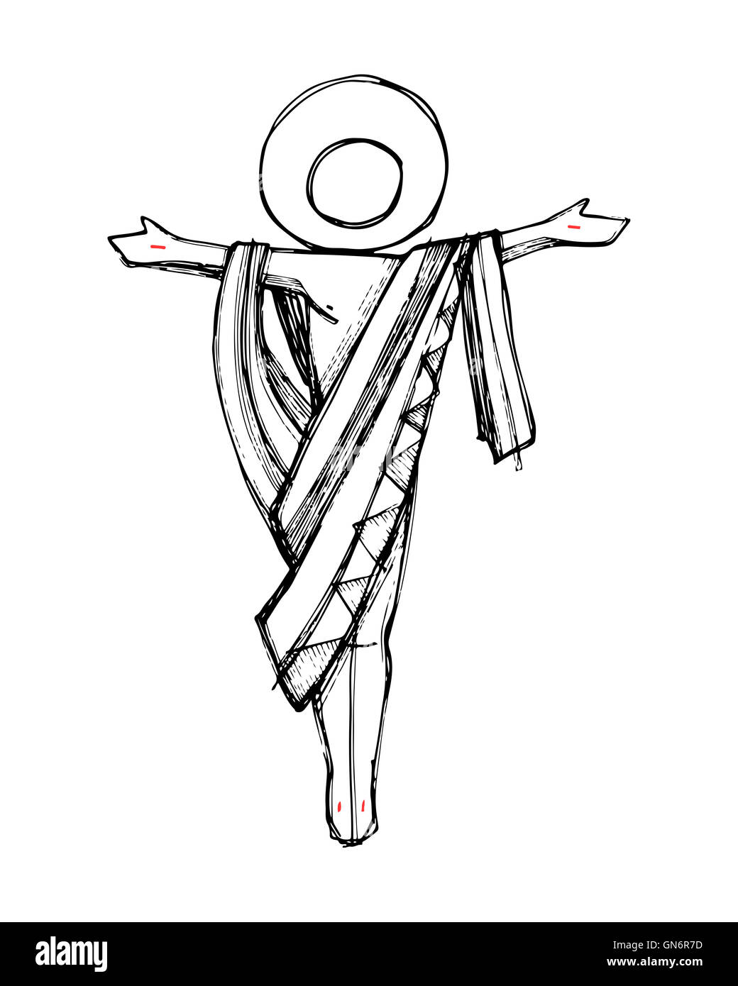 hand drawn illustration or drawing of jesus christ resurrection in