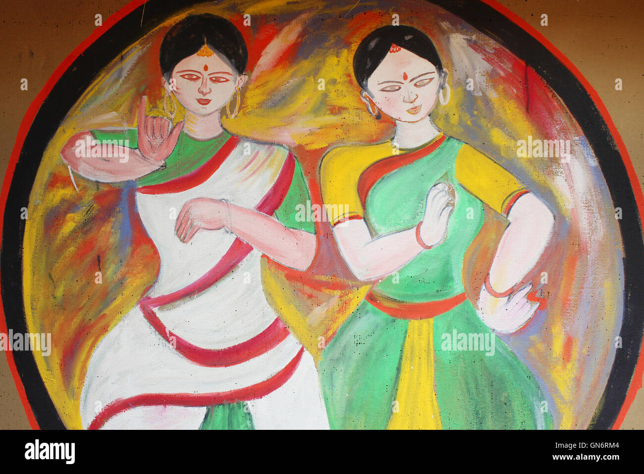 Indian Dance Stock Photos  for Abstract Painting Of Indian Dancers  110zmd