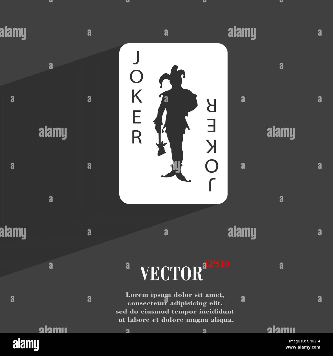 Single playing cards joker symbol flat modern web design with single playing cards joker symbol flat modern web design with long shadow and space for your text vector biocorpaavc