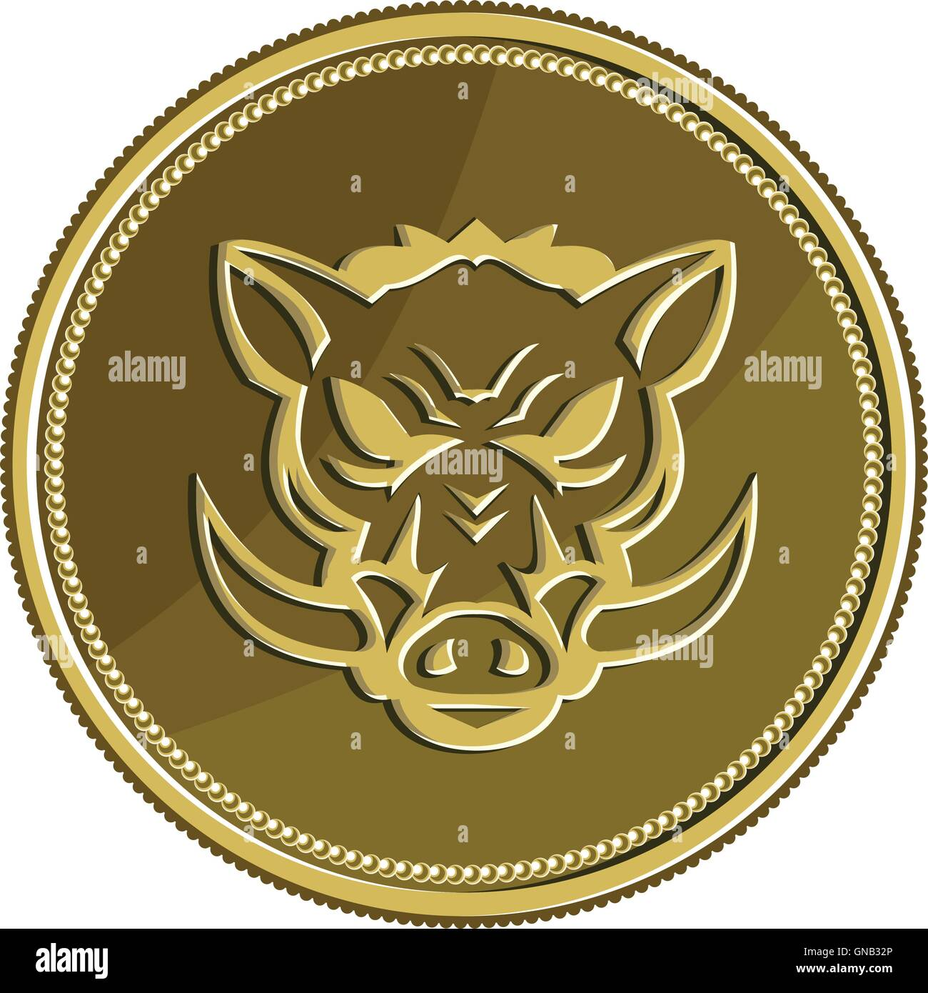 Wild hog head angry gold coin retro stock vector art wild hog head angry gold coin retro biocorpaavc