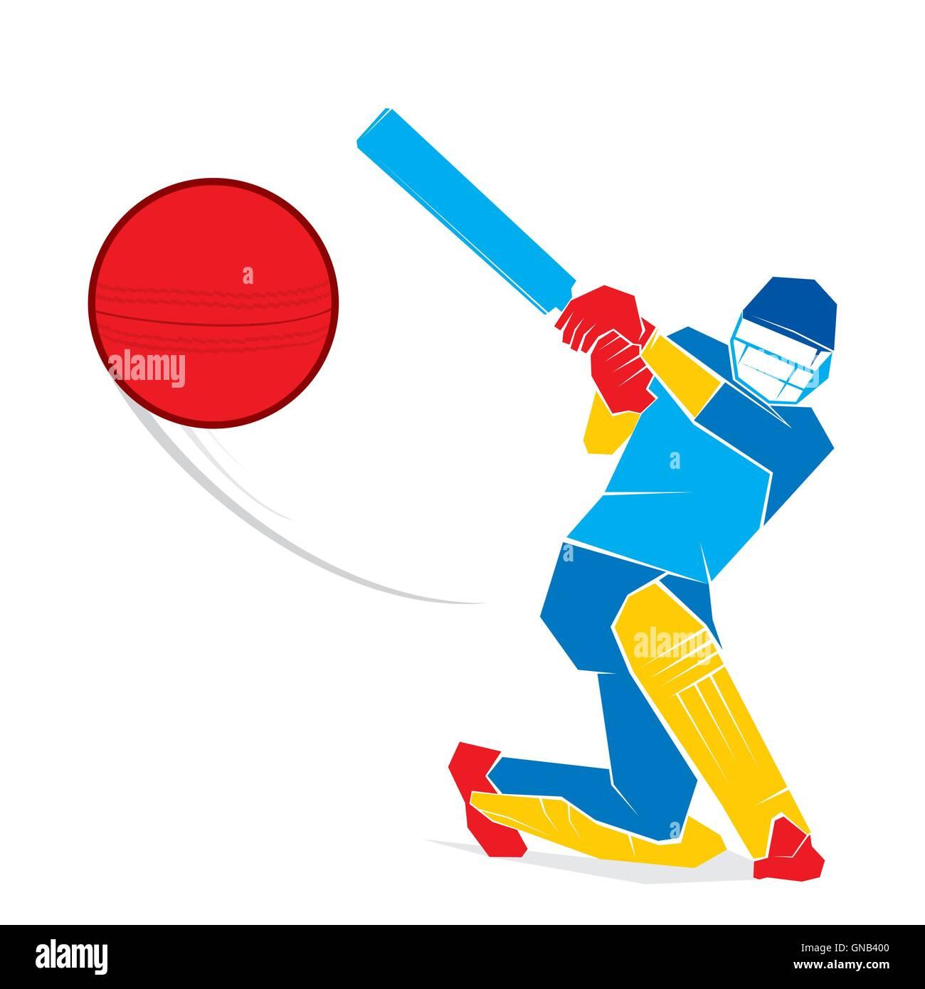 sketch cricket player hit the ball design vector stock