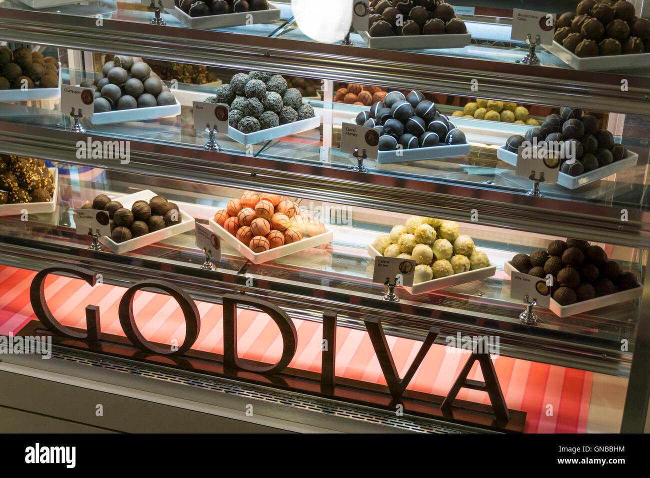 Display in Godiva chocolate shop covered with dust from World ...