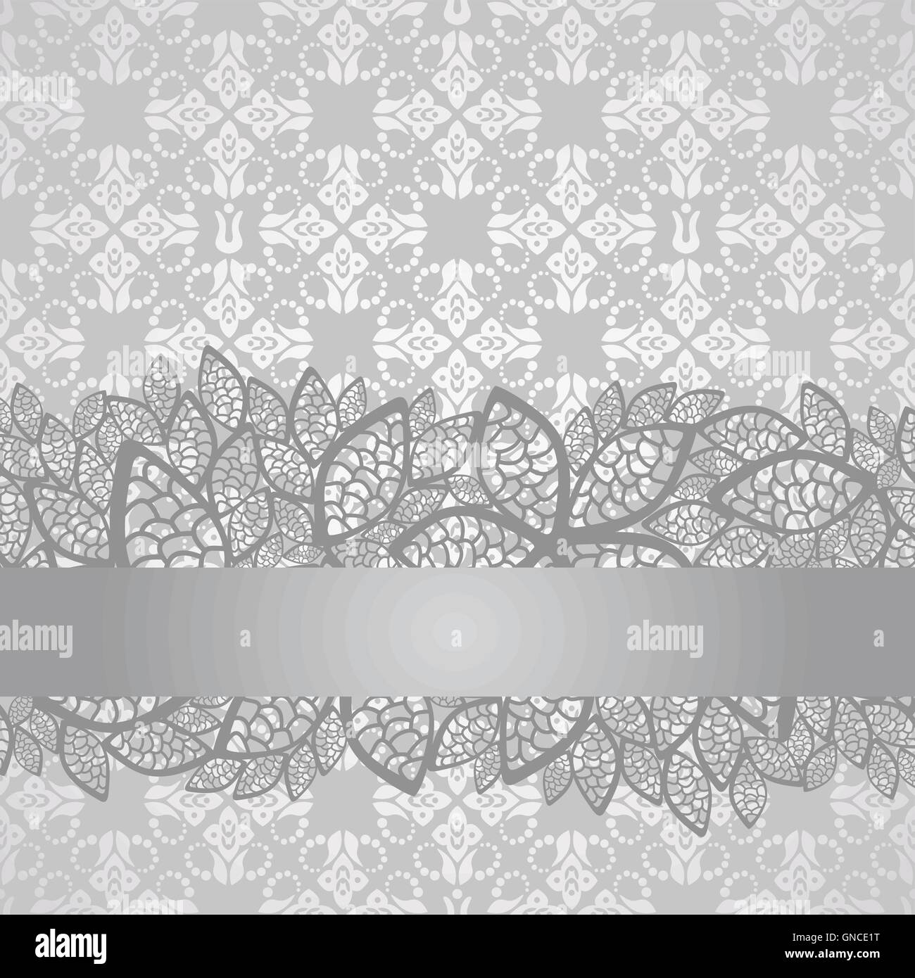 Silver Lace Border On Floral Silver Wallpaper Stock Vector