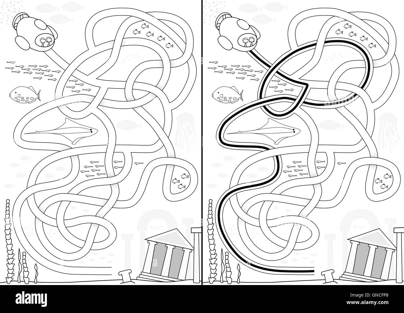 Lost City Maze Stock Vector Art Illustration Image