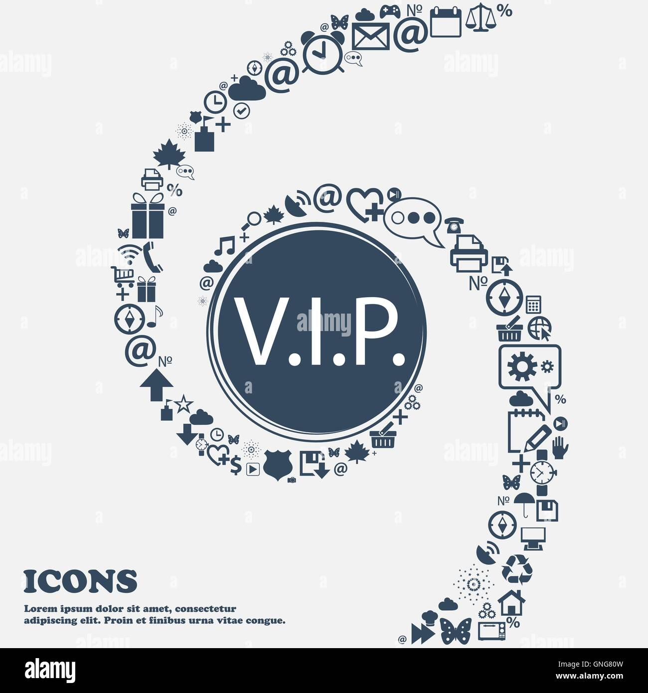 Vip sign icon membership symbol very important person in the membership symbol very important person in the center around the many beautiful symbols twisted in a spiral yo buycottarizona Images
