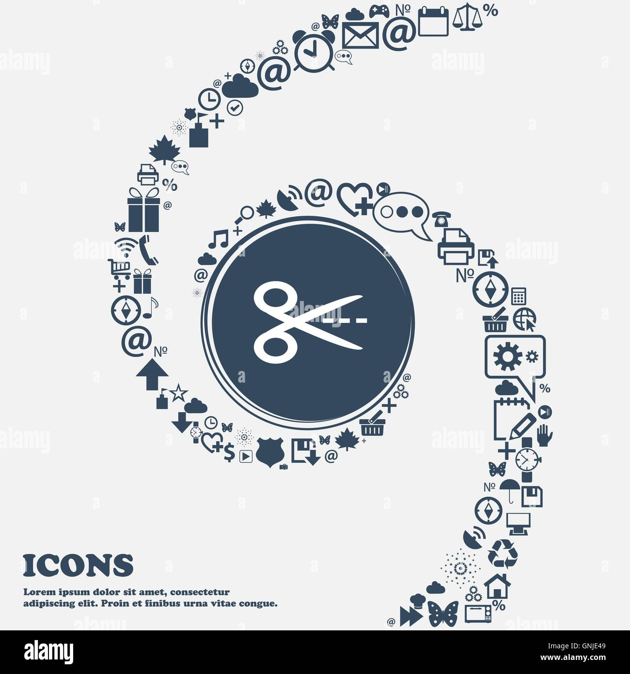 Scissors with cut dash dotted line sign icon tailor symbol in the scissors with cut dash dotted line sign icon tailor symbol in the center around the many beautiful symbols twisted in a spiral biocorpaavc