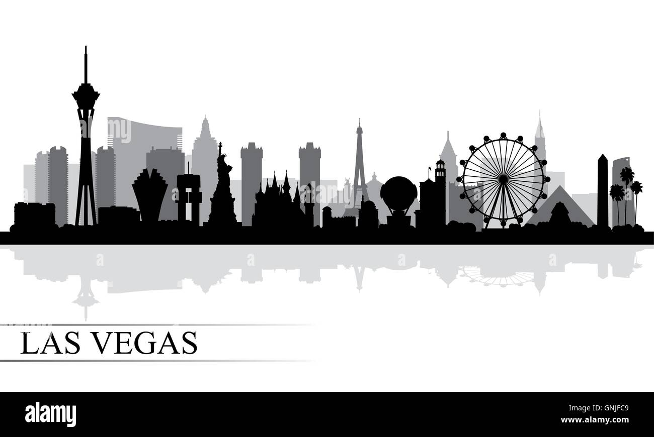 Las Vegas City Skyline Silhouette Background Stock Vector