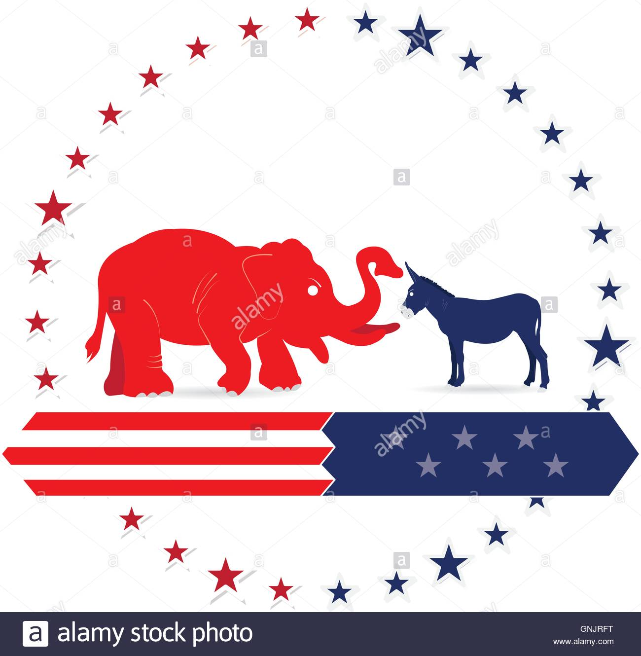 Isolated republican and democrat symbols on a white background isolated republican and democrat symbols on a white background with stars buycottarizona