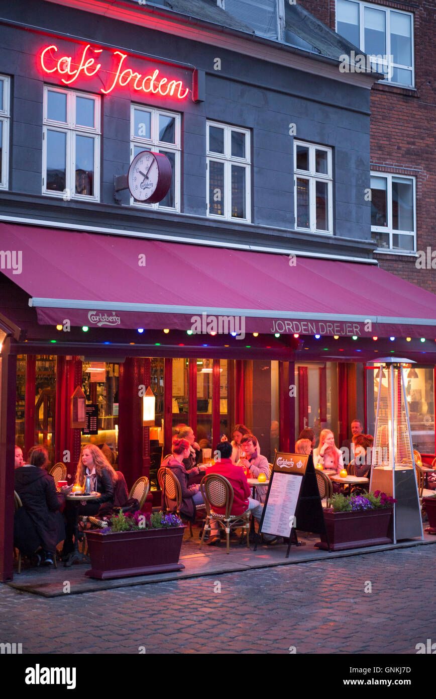 diners eating al fresco at cafe jorden a pavement cafeteria in