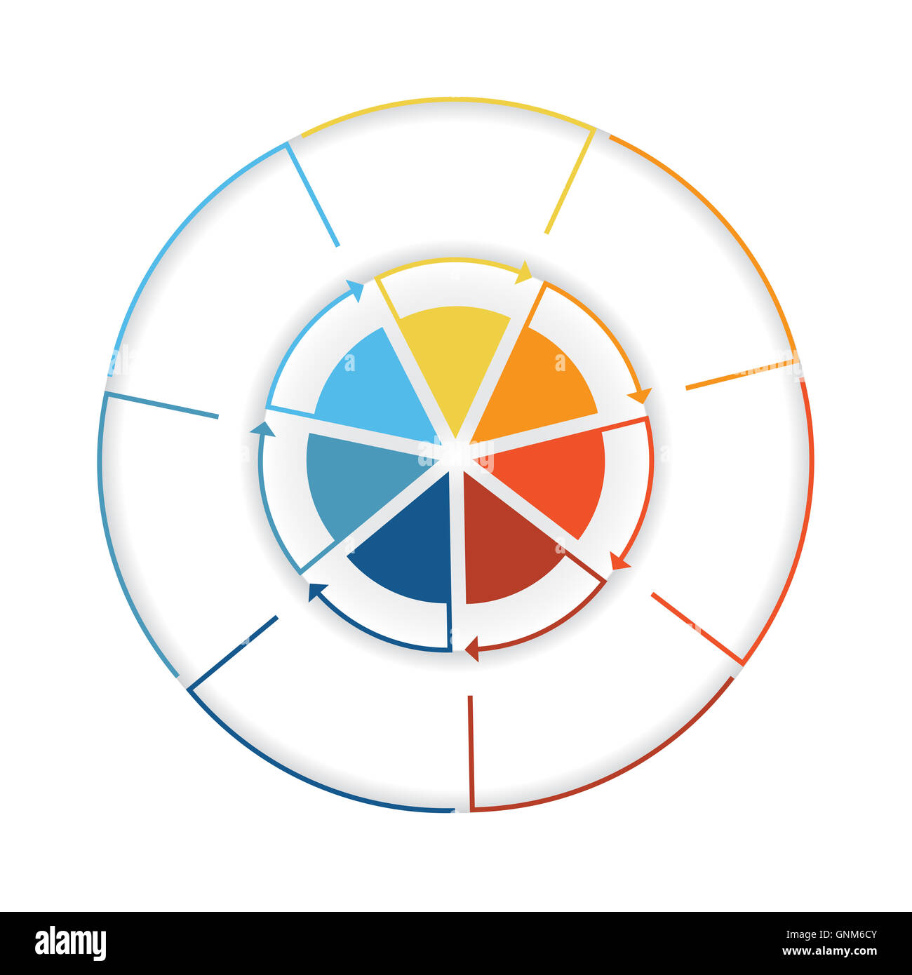 Arrows from colourful lines around circle template infographic arrows from colourful lines around circle template infographic seven position pie chart nvjuhfo Choice Image