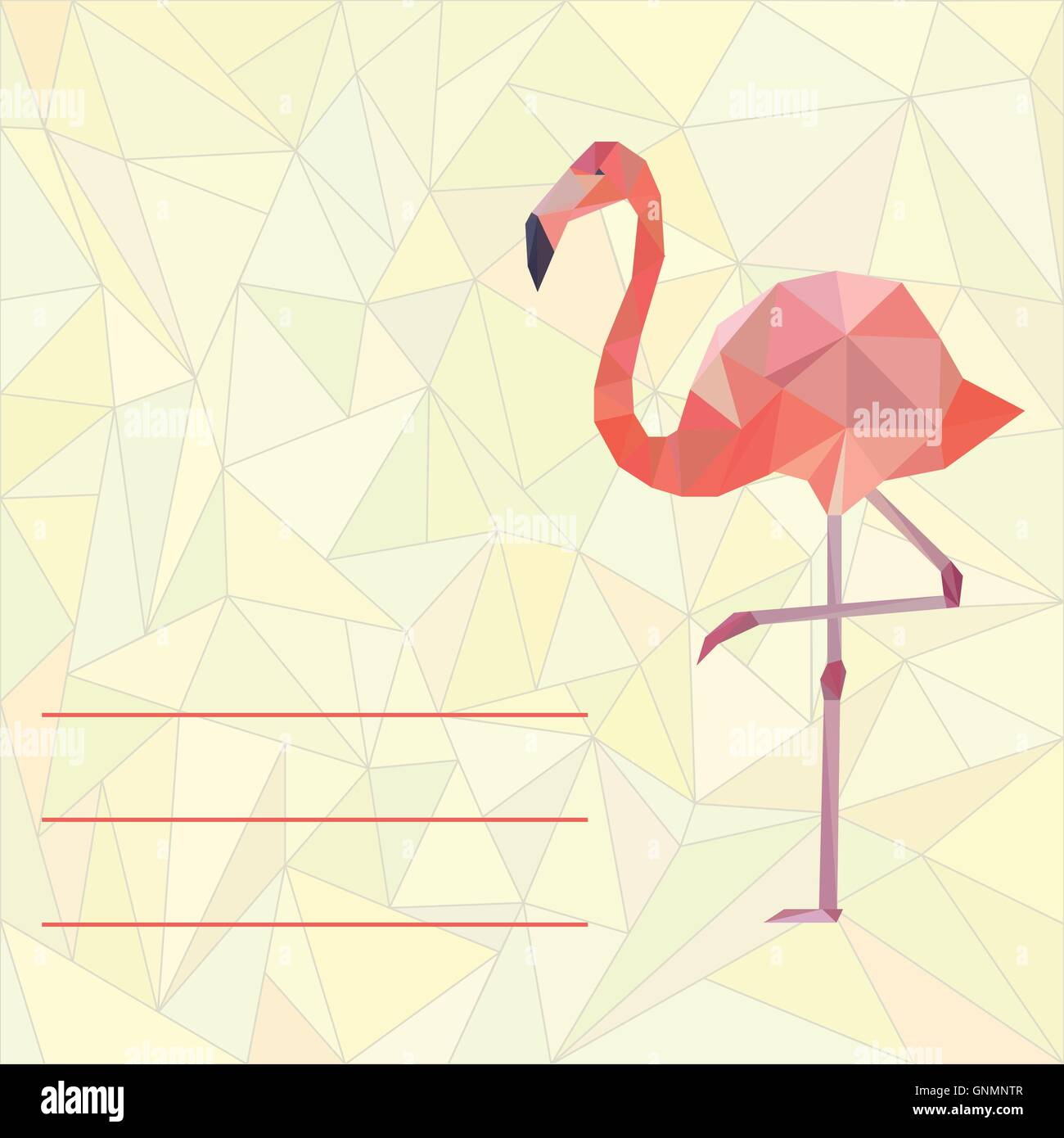 Card template with polygonal flamingo stock vector art card template with polygonal flamingo pronofoot35fo Images