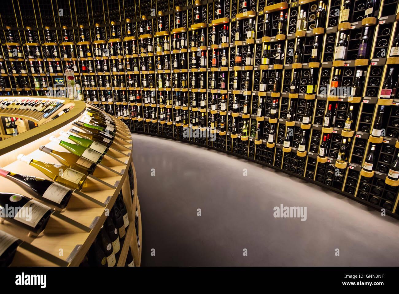 Wine cellar. La Cité du Vin, Wine house museum, inside. Bordeaux ...