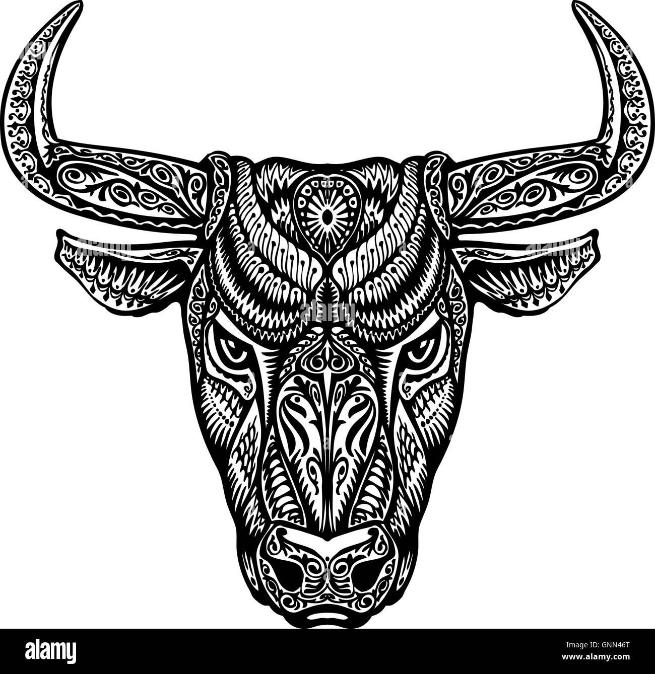 bull taurus buffalo painted tribal ethnic ornament