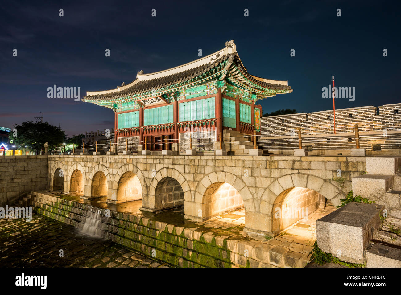 Hwaseong Fortress Traditional Architecture Of Korea In Suwon At Night South