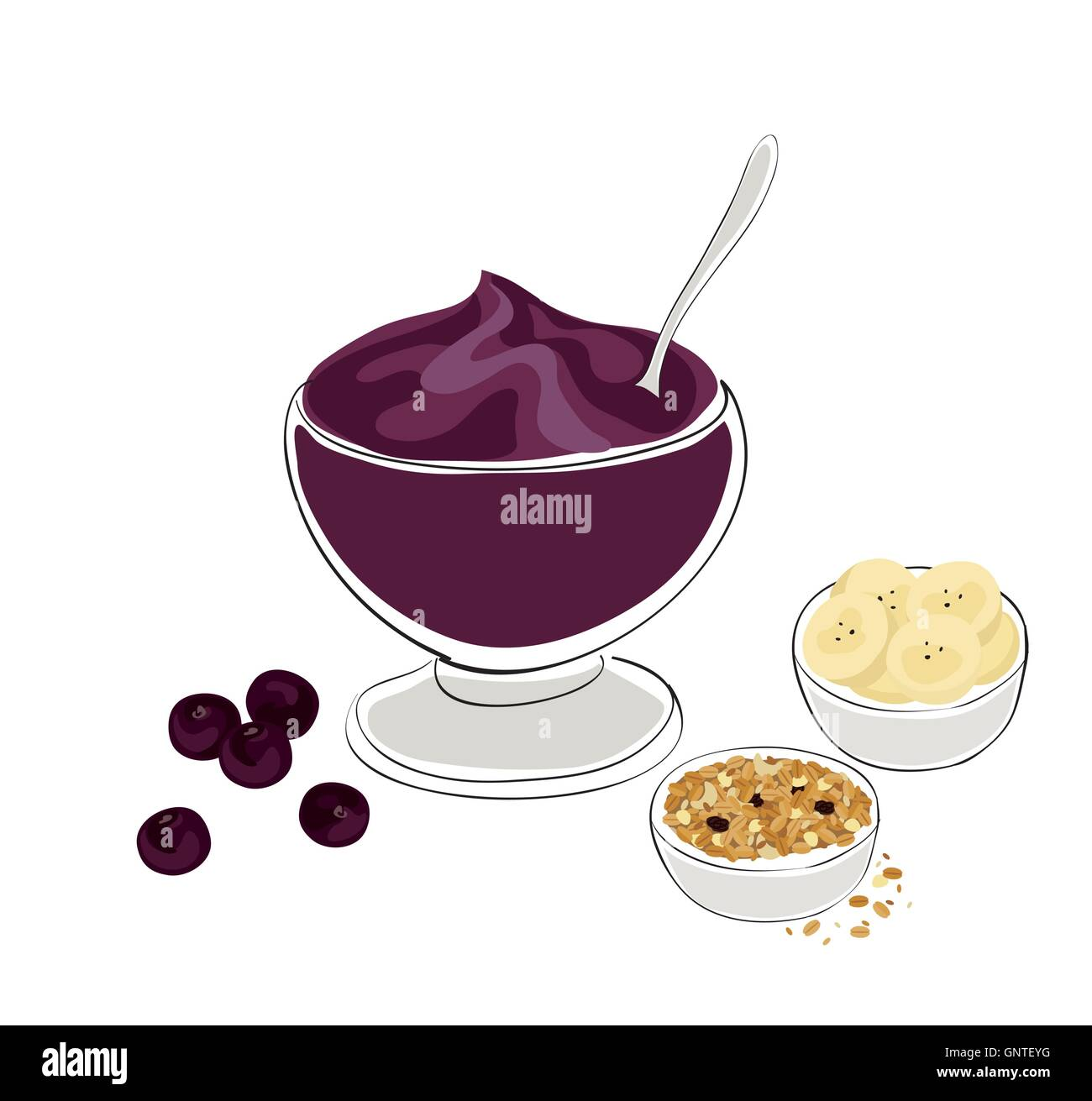 healthy breakfast acai bowl with granola and banana stock vector