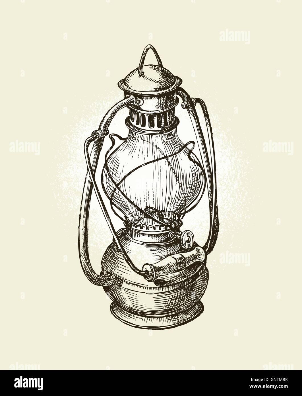 Hand-drawn vintage kerosene lamp. Sketch oil . Vector illustration ... for Drawing Oil Lamp  585eri