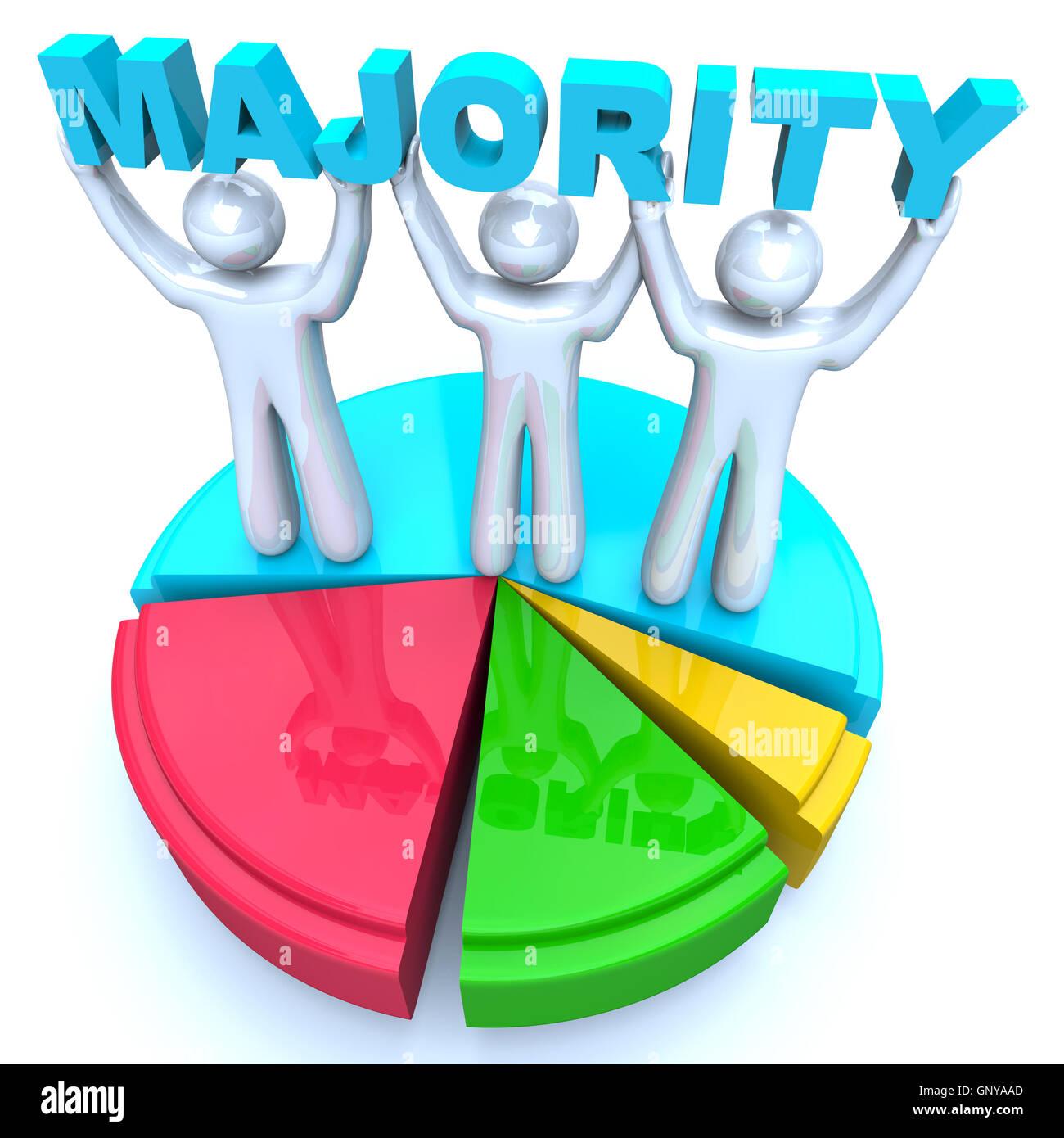 Majority rule people holding word on pie chart winners stock photo majority rule people holding word on pie chart winners nvjuhfo Images