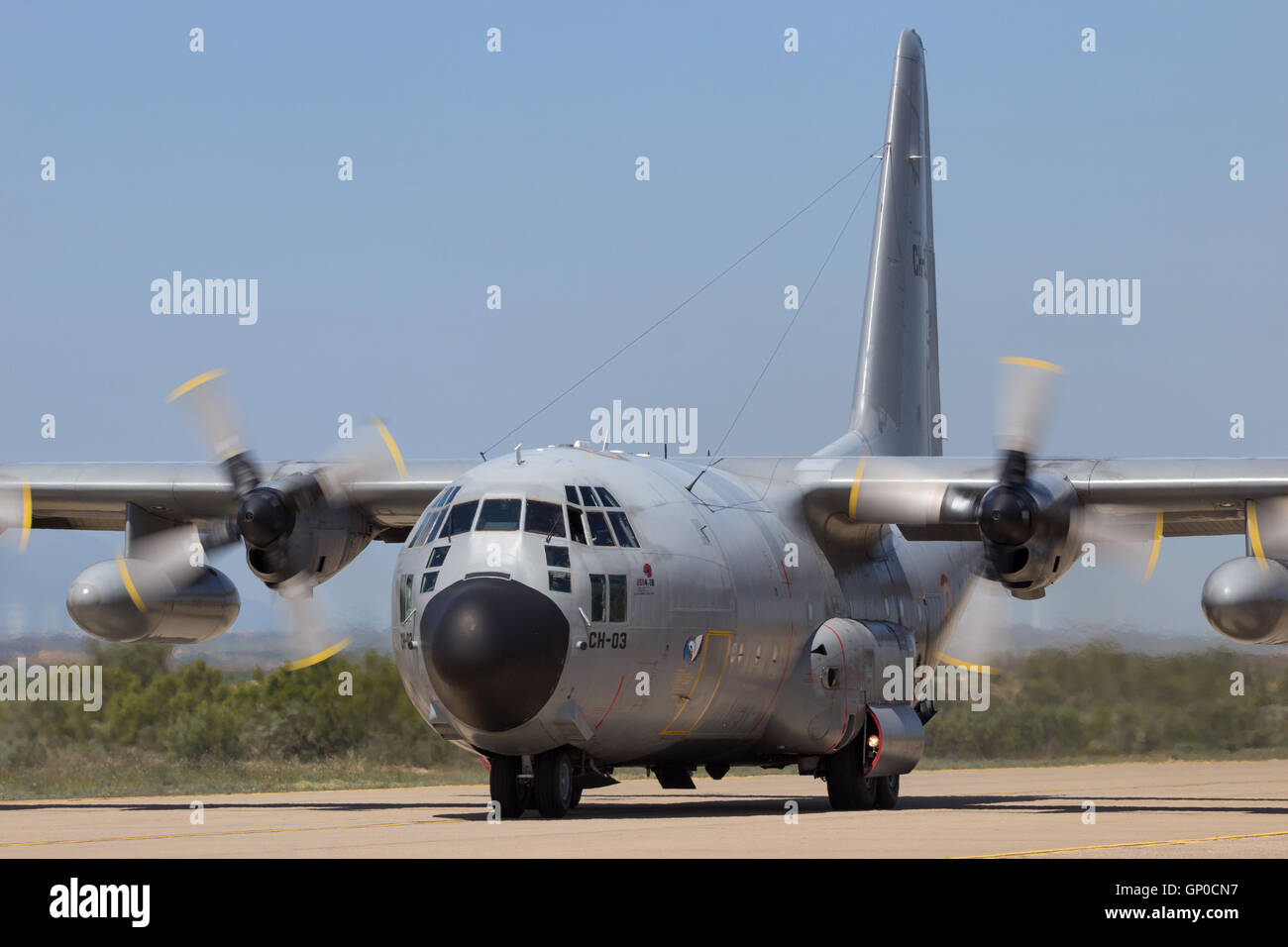 belgian air force c 130 hercules cargo plane taxiing after landing on zaragoza airbase