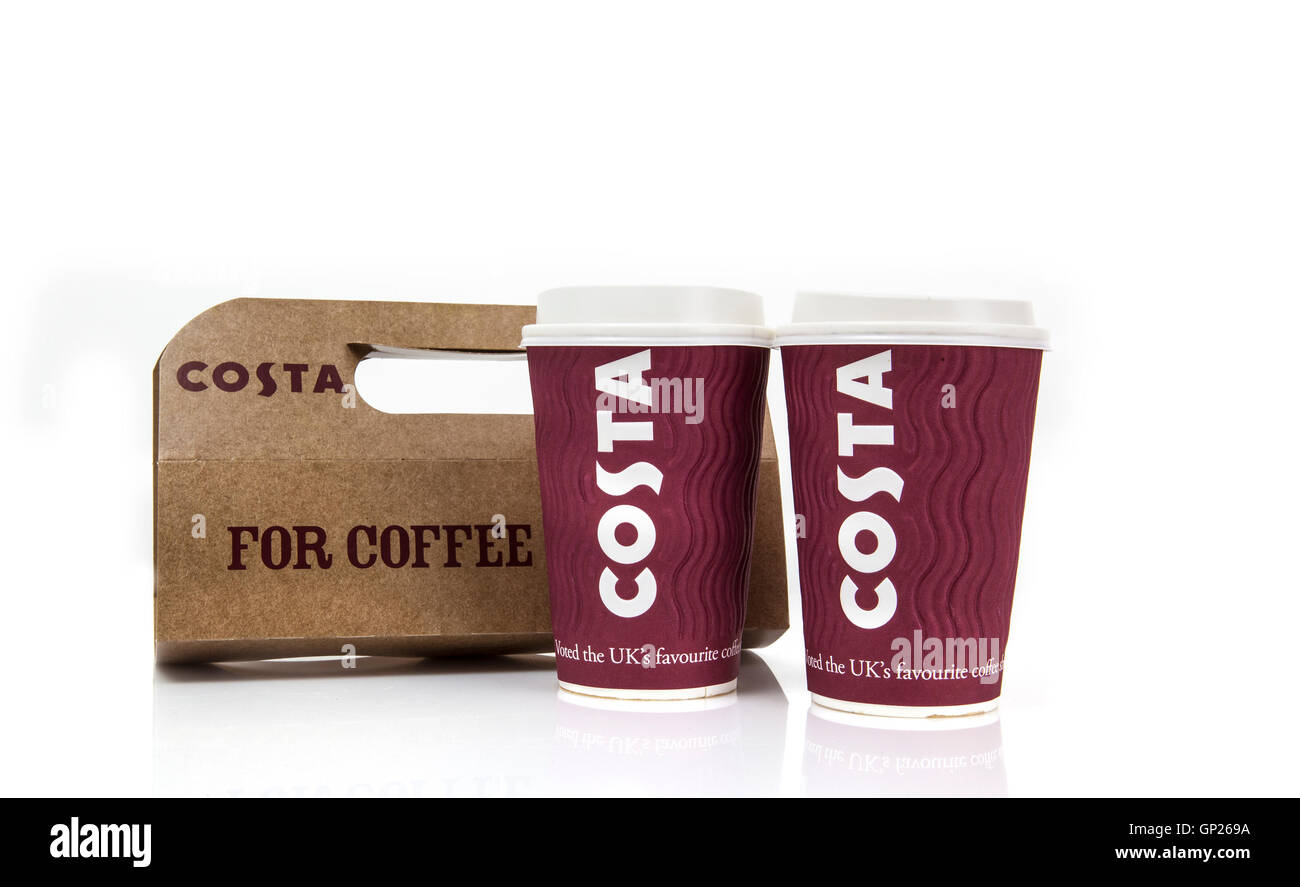Glass espresso coffee cups uk - Costa Coffee Take Away Cups And Carrier Stock Image
