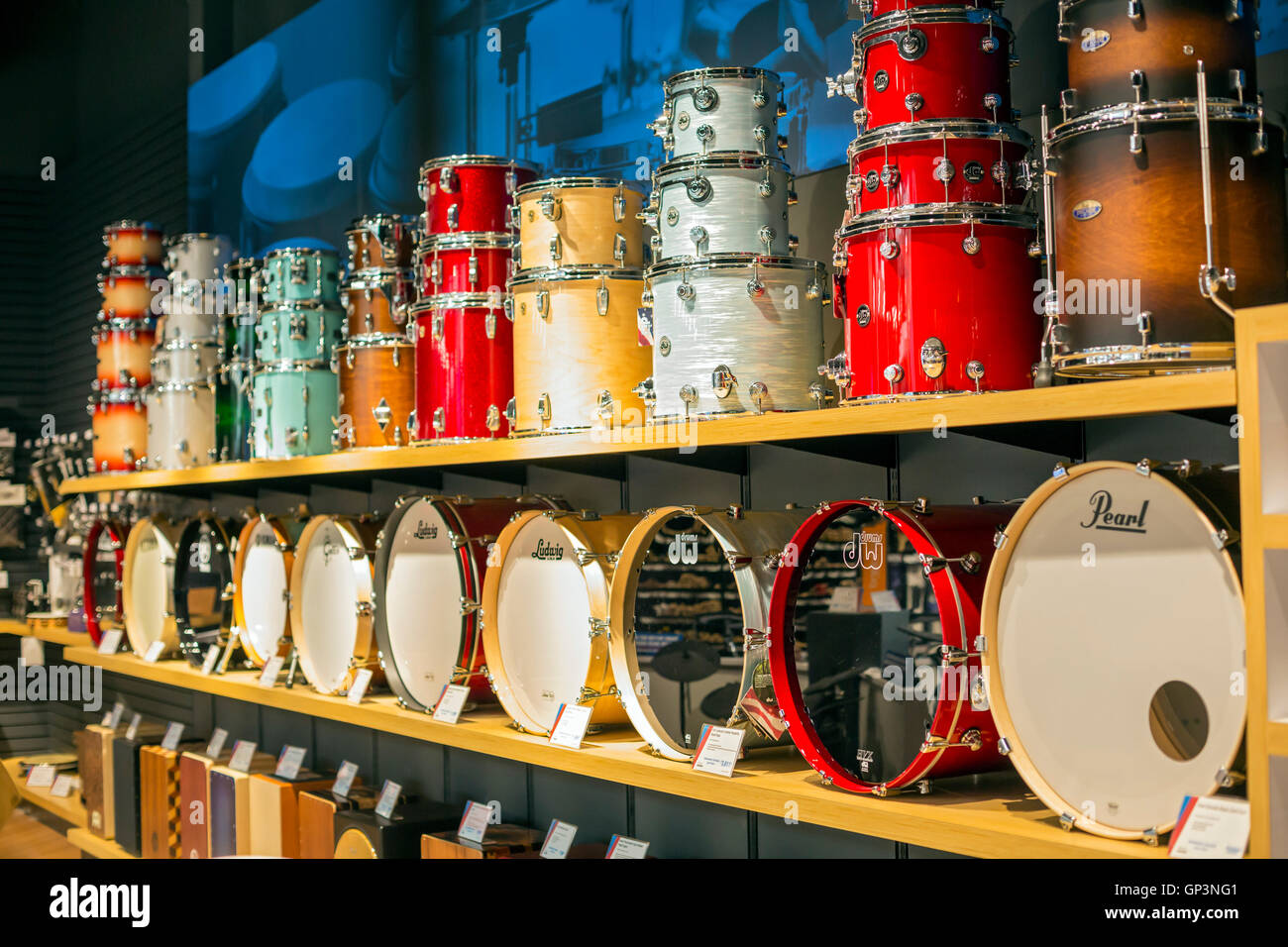Fort Wayne, Indiana - Drums on display at the Sweetwater ...