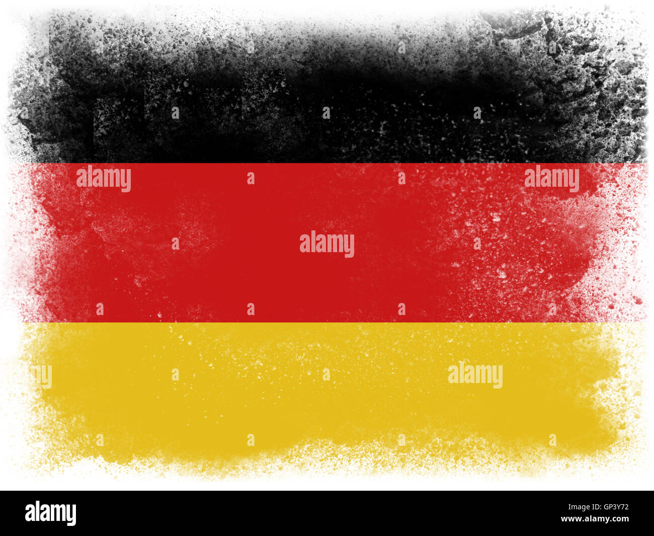 powder paint exploding in colors of the germany flag isolated on