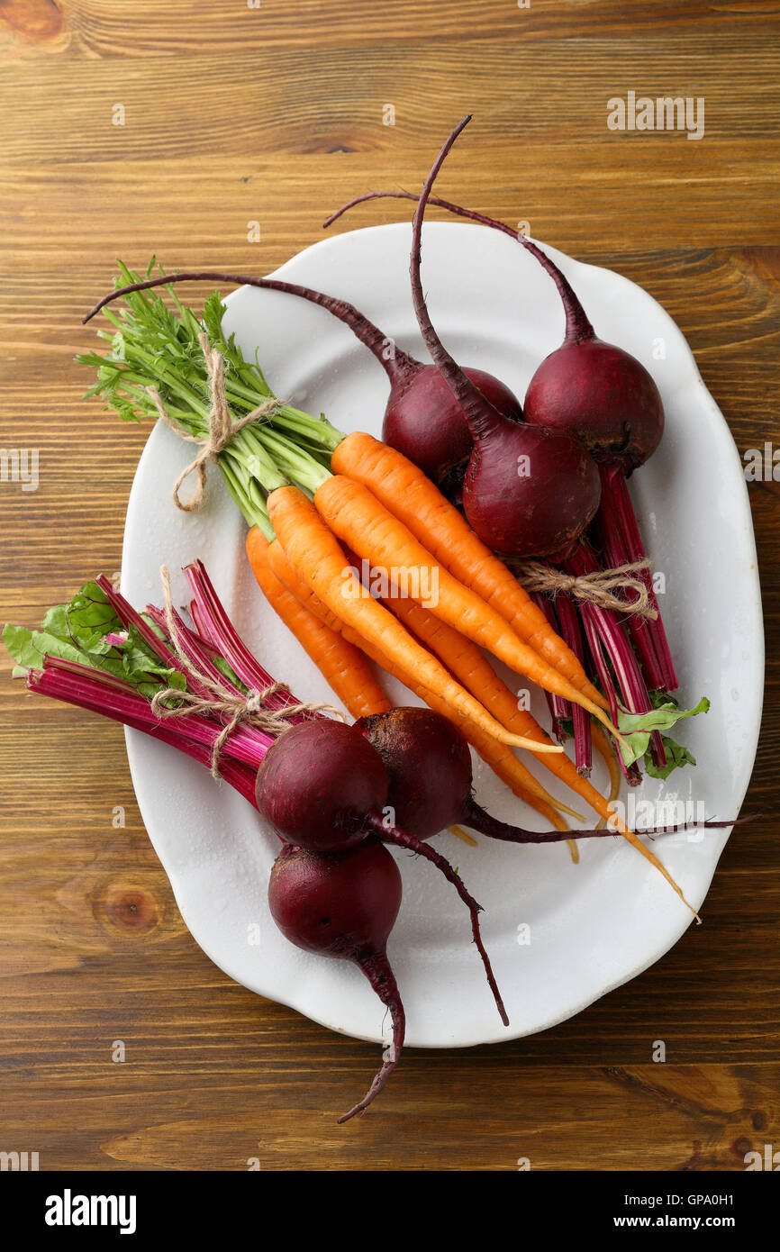 Fresh Beetroots And Carrots On Plate Food Above