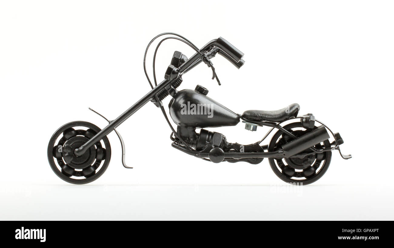 Mini motorcycle made from wire and different motorcycle parts ...
