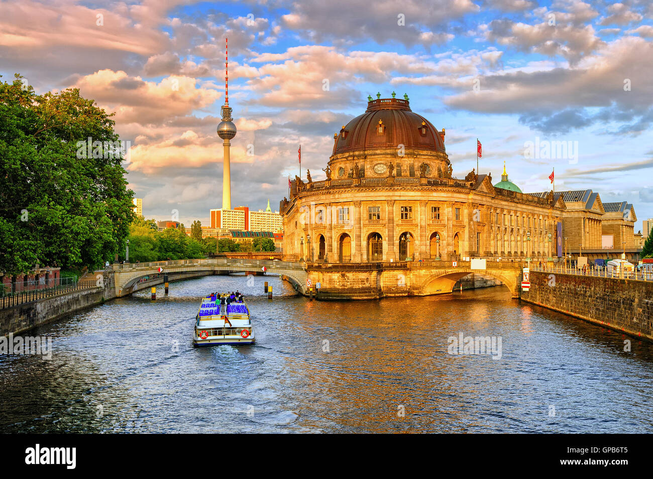 bode museum on spree river and alexanderplatz tv tower in