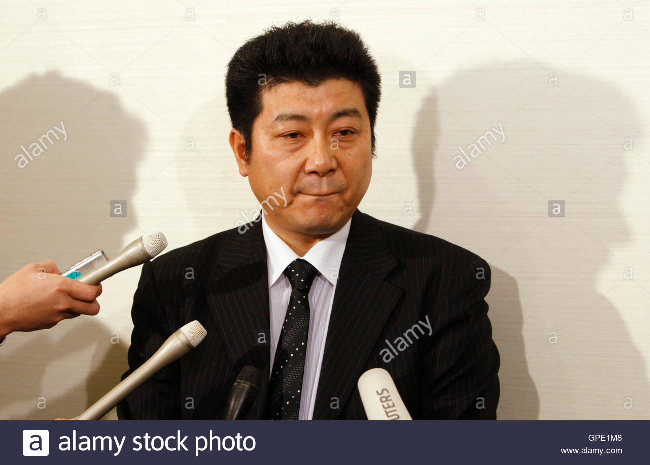 yasushi kikkawa a teachers consultant at shimane prefecture high stock photo yasushi kikkawa a teachers consultant at shimane prefecture high school education bureau answers questions by reporters after attending a