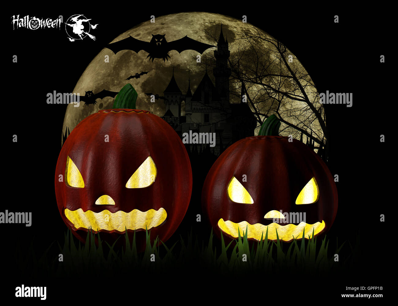 3d illustrator of Halloween Party Background with Pumpkins in the ...