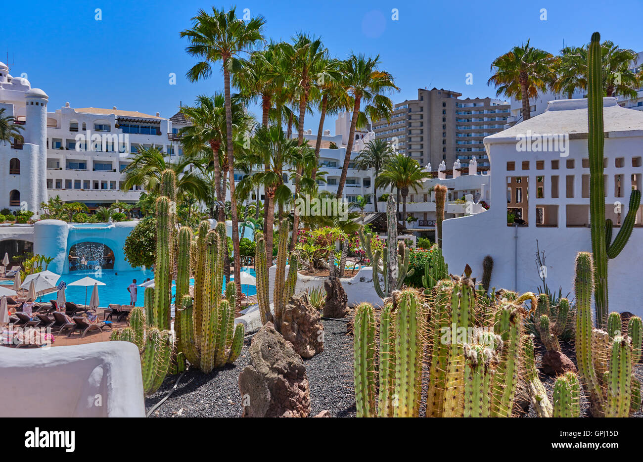 Hotel jardin tropical costa adeje tenerife stock photo for Jardin tropical
