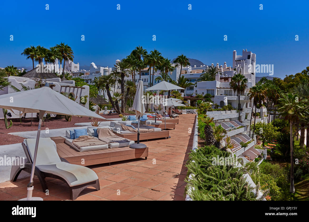 Hotel jardin tropical costa adeje tenerife stock photo for Jardin tropical costa adeje