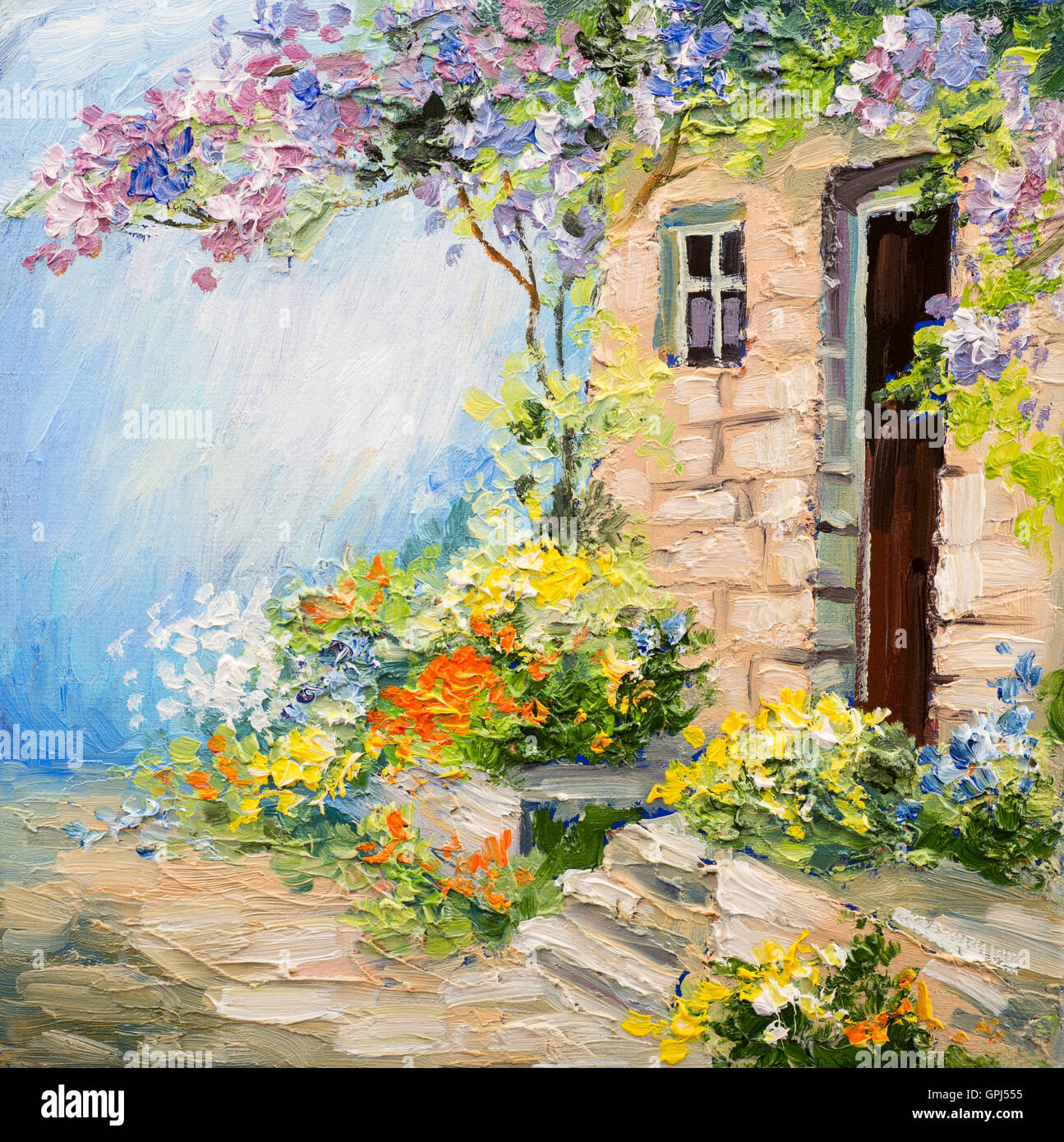 Oil Painting Landscape Garden Near The House Colorful Flowers Stock Photo Royalty Free Image