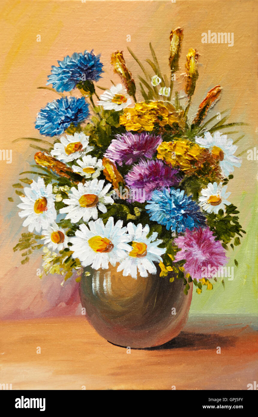 Oil painting of spring flowers in a vase on canvas abstract oil painting of spring flowers in a vase on canvas abstract drawing decoration design bouquet floridaeventfo Images