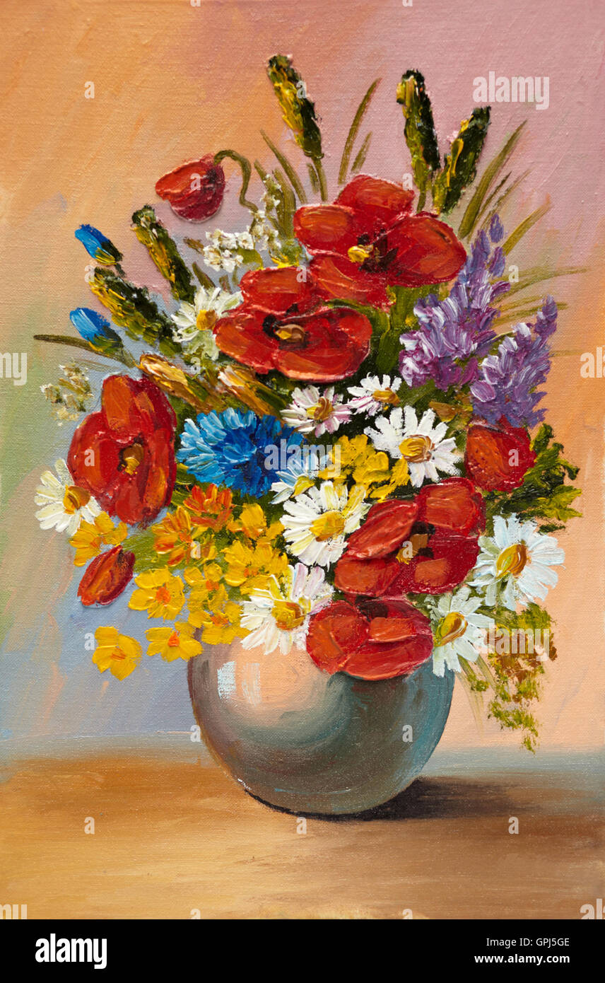 Oil painting of spring flowers in a vase on canvas ...