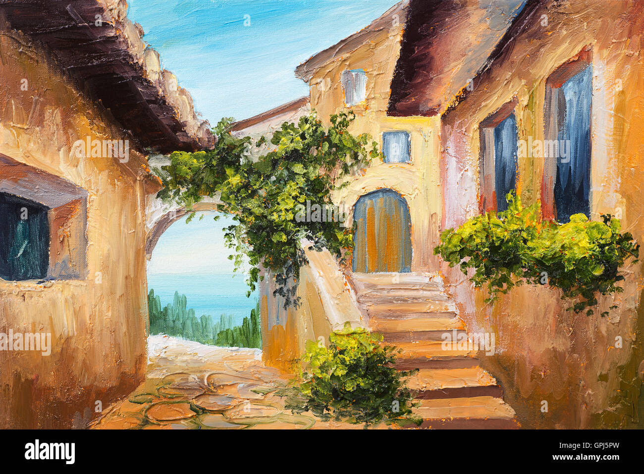 Oil Painting House Near The Sea Colorful Flowers Summer Seascape Stock Photo Royalty Free