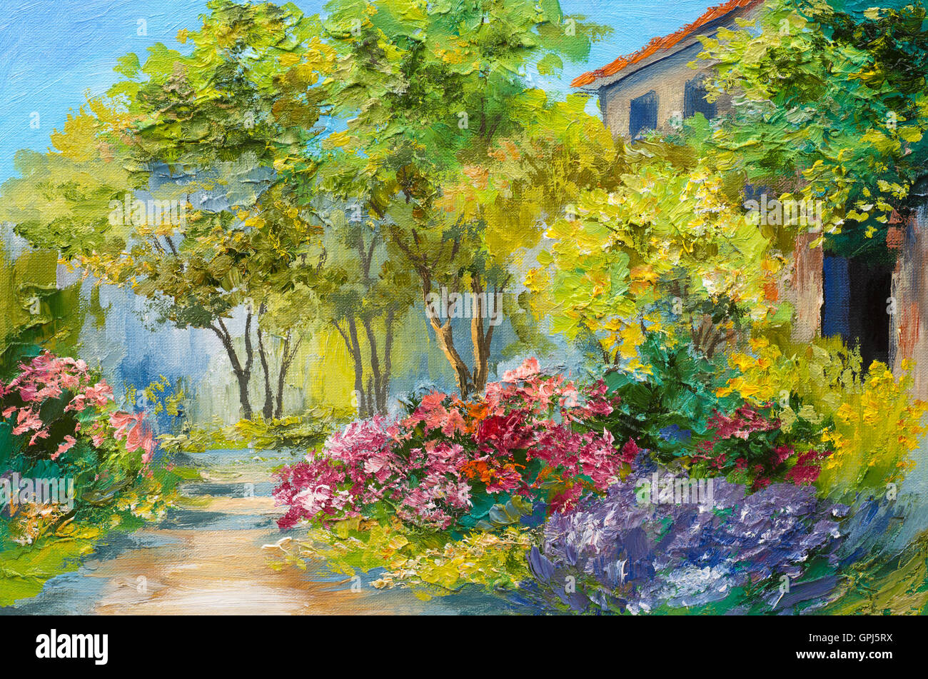 Oil Painting House In The Summer Forest Stock Photo Royalty Free Image 117184366 Alamy