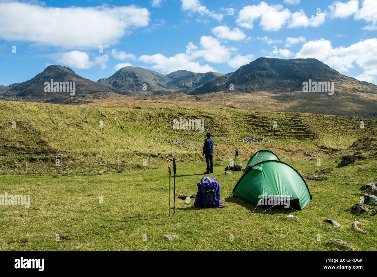 Two Hilleberg Akto solo back-packing tents at Harris Bay Isle of Rum Scotland UK. The Rum Cuillin hills behind & Two Hilleberg Akto solo back-packing tents at Harris Bay Isle of ...
