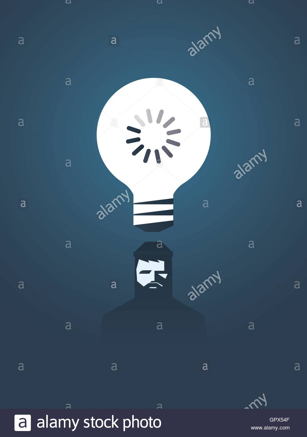 Creativity concept vector illustration with lightbulb and loading creativity concept vector illustration with lightbulb and loading sign in it over hipster graphic designer head symbol of thinking creative process biocorpaavc