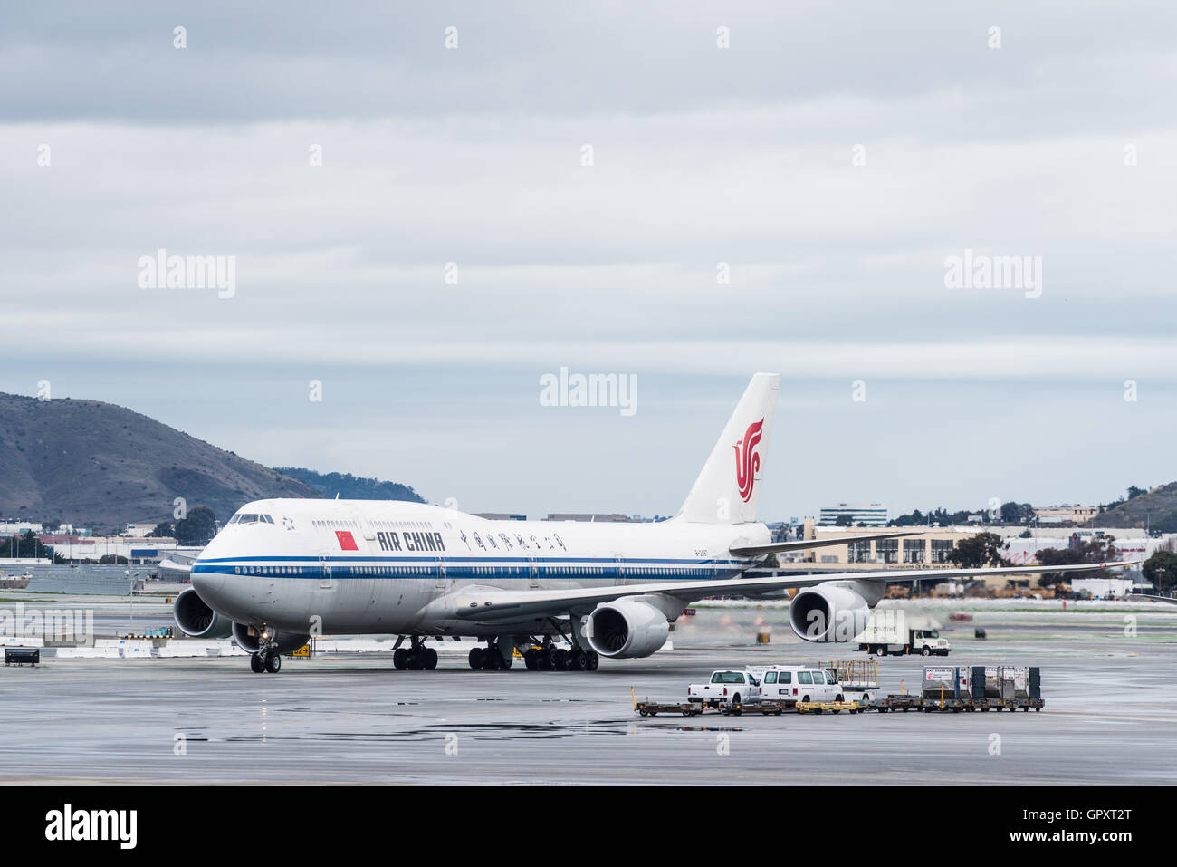China Airlines Boeing Airplane Ready To Takeoff At The San Francisco  International Airport