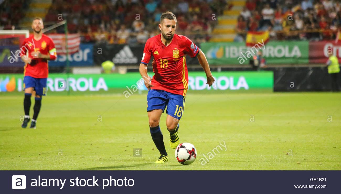 Leon Spain 5th Sep 2016 Spain s Jordi Alba in action during