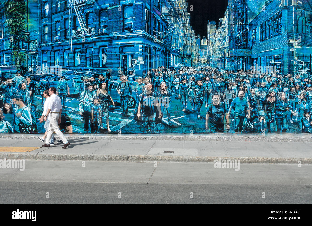 Street art mural at houston and the bowery in new york for Bowery mural nyc