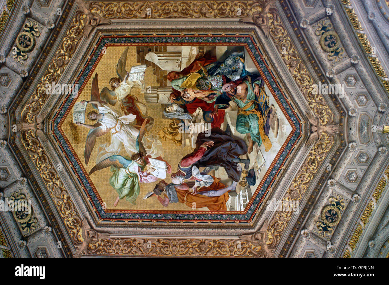 Ceiling paintings in Vatican museum Italy Ornate roof in the