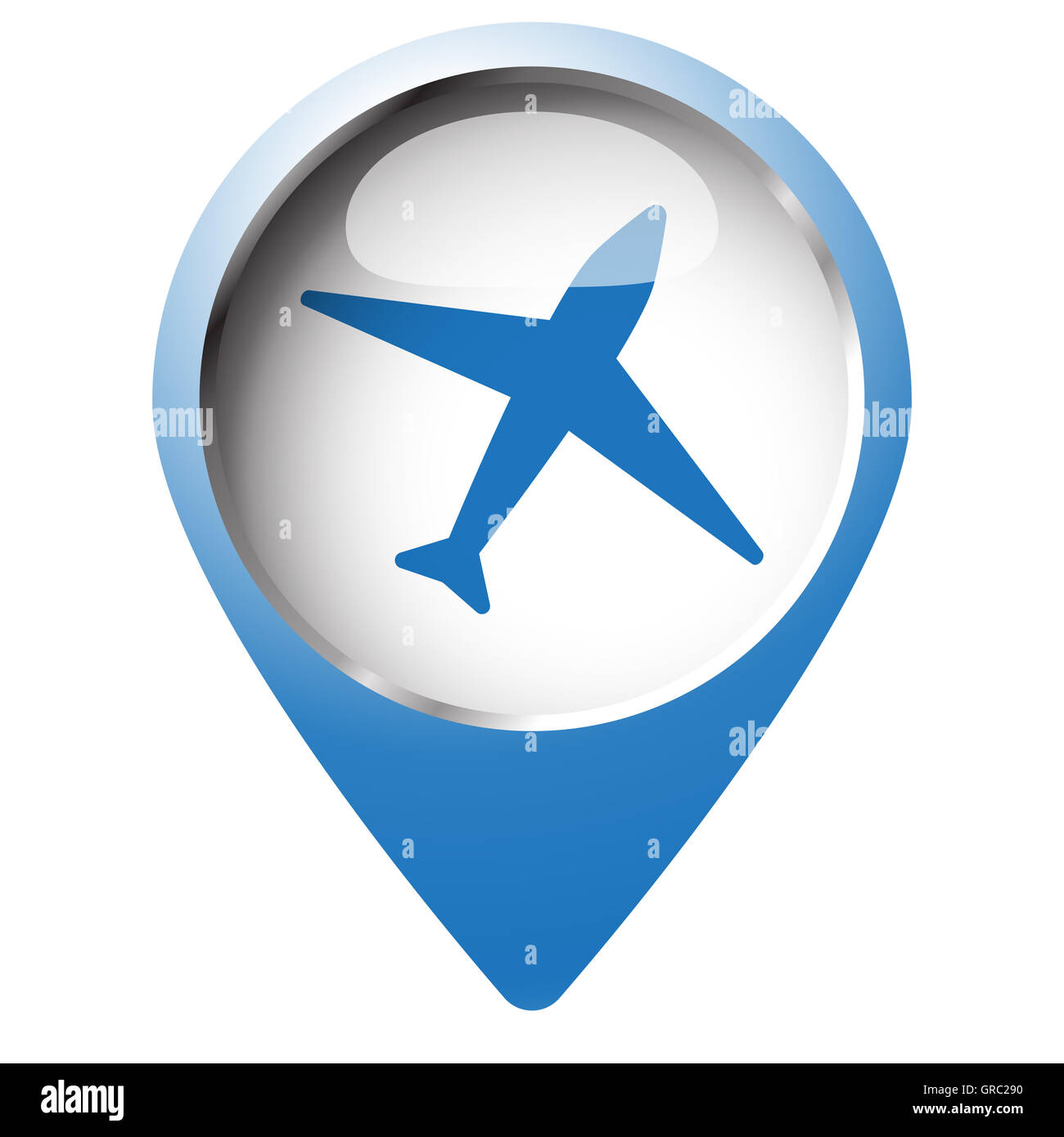 map pin symbol with airplane icon blue symbol on white