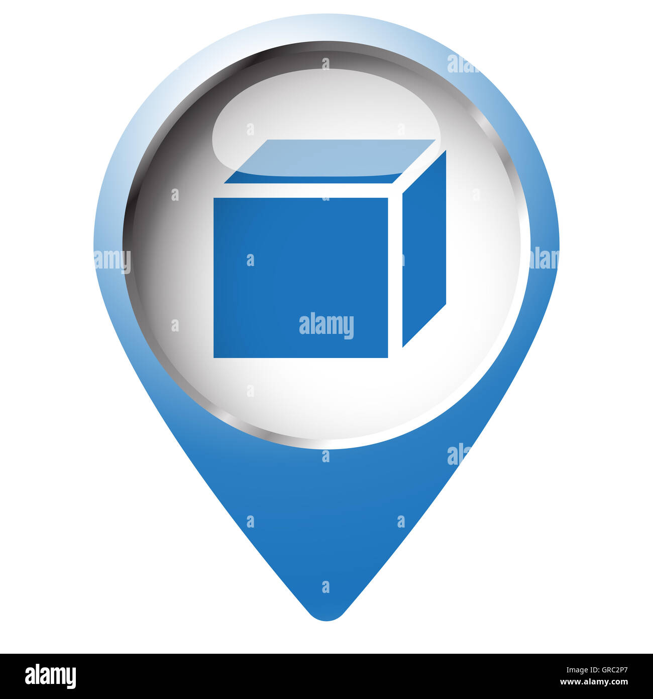 Map Pin Symbol With 3d Box Icon Blue Symbol On White Background