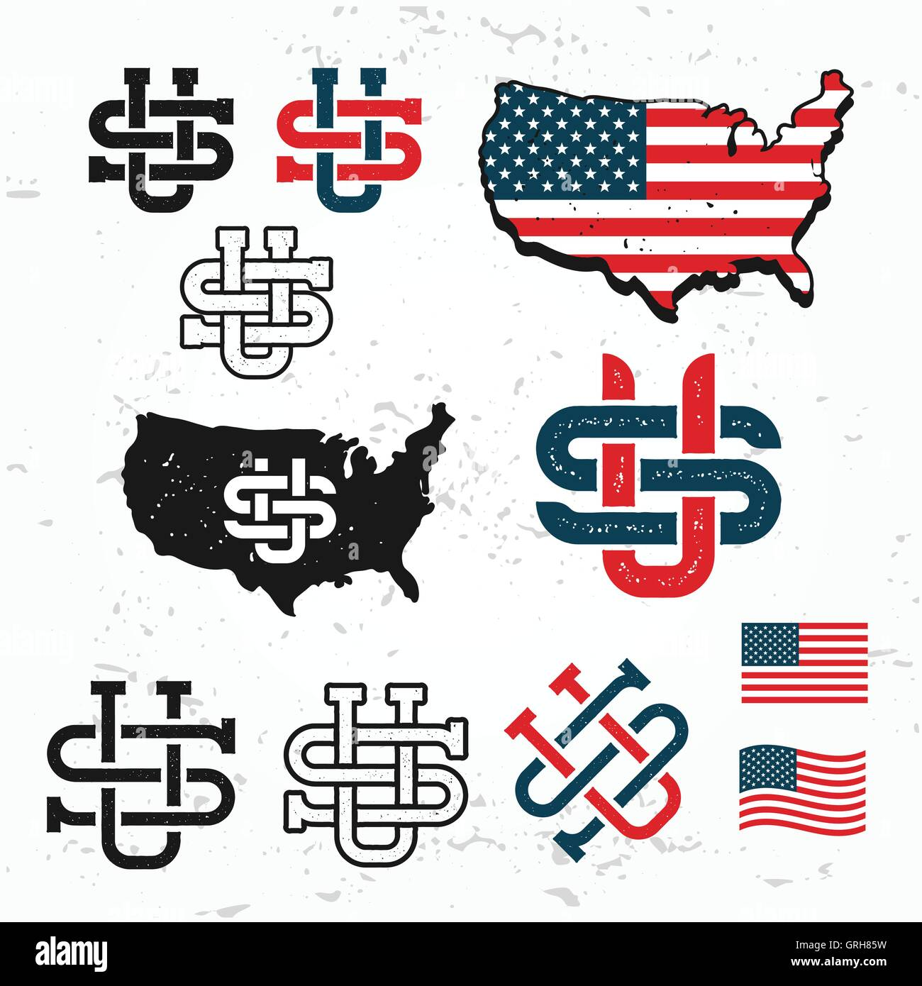 Made in USA monogram vector set Vintage America logo design