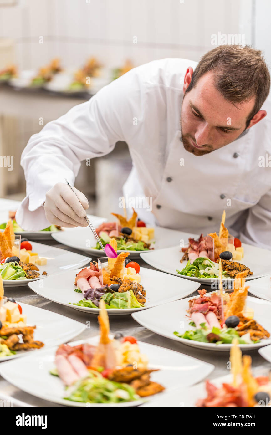 Chef is decorating delicious appetizer dish fine dining for Appetizer decoration